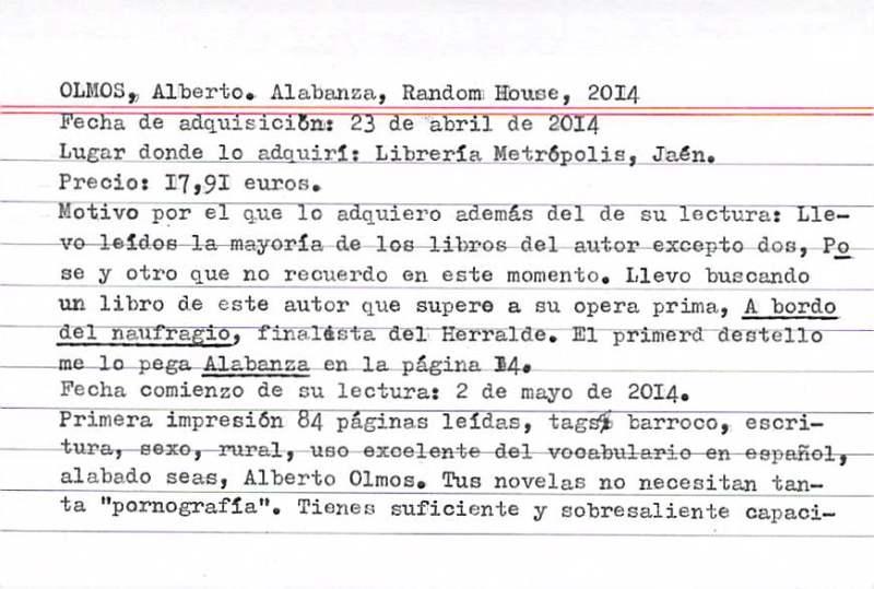 Olmos, Alberto, Alabanza